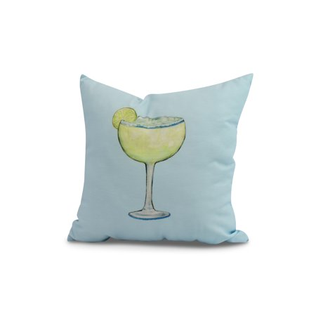Margarita Daisy (Simply Daisy, 18 x 18 inch, Margarita Plain Geometric Print Pillow, Pale Blue)