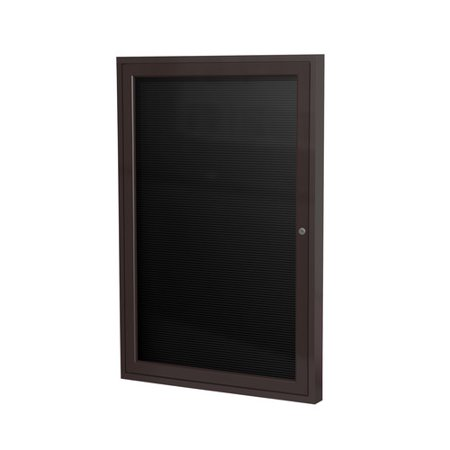 Ghent PA12418BX-BK 24 in. x 18 in. 1-Door Satin Aluminum Frame Enclosed Letterboard - Black Vinyl