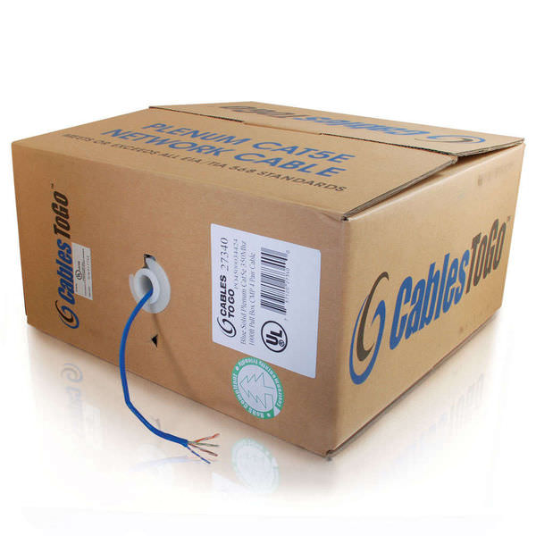 500ft Cat5e Bulk Unshielded (utp) Network Cable With Solid Conductors - Plenum Cmp-rated - Blue