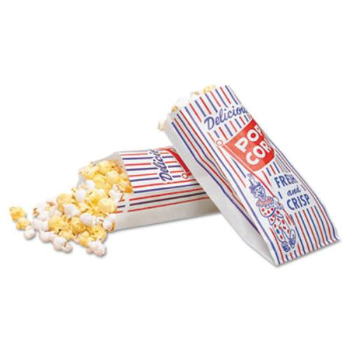 Bagcraft Pinch-Bottom Paper Popcorn Bag, 4w x 1-1/2d x 8h, Blue/Red/White, 1000/Carton - BGC300471 (Paper Popcorn Bags)