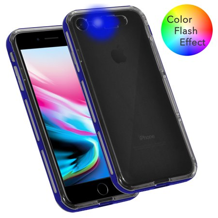 iPhone 8 Case, Dual Layer Slim Protective Bumper Cover Clear Back Case with Color Flash Effect for iPhone 8 - Clear/ Blue