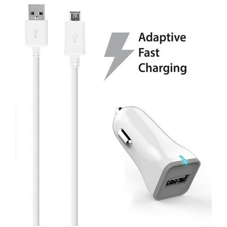 Ixir Kyocera Hydro Xtrm Charger Micro USB 2.0 Cable Kit by Ixir - (Car Charger + Cable) True Digital Adaptive Fast Charging uses dual voltages for up to 50% faster