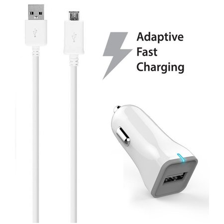 HTC Desire 630 Charger  Micro USB 2.0 Cable Kit by Ixir - (Car Charger + Cable) True Digital Adaptive Fast Charging uses dual voltages for up to 50% faster charging!