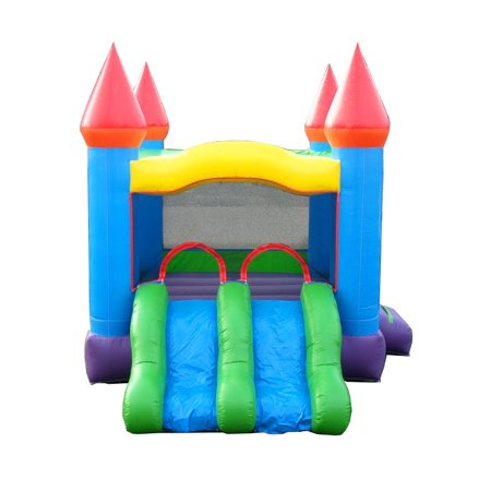 - Pogo Crossover Dual Lane Blue Rainbow Bounce House Slide Combo
