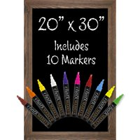 "Rustic Brown Magnetic Wall Chalkboard Sign with 10 Liquid Chalk Markers 20""x30"" - GPP-0010"
