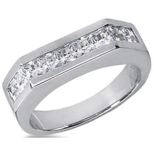 1.08ct Princess Cut 9 Diamond Wedding Anniversary Band, Size 6, Channel Set, 0.12ct each Platinum by