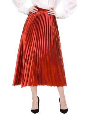 Women's High Waist Accordion Pleated Metallic Midi Skirt A-line