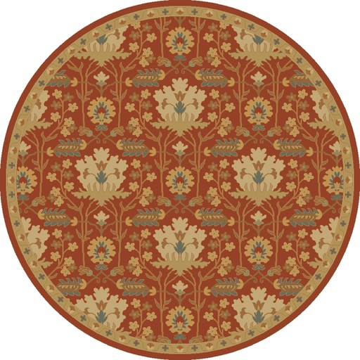 4' Romantic Ceasar Burgandy Red and Olive Green Round Wool Area Throw Rug