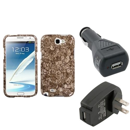 Insten Stone Vein Hard Case Car Home Charger Adapter For Samsung Galaxy Note 2 II