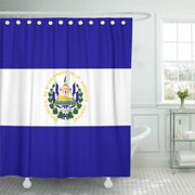 CYNLON Blue Salvadoran El Salvador Flag Red White Stripes Travel Bathroom Decor Bath Shower Curtain 66x72 inch