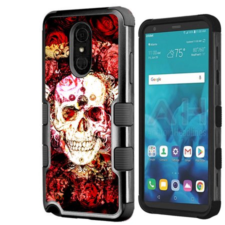 For LG Stylo 4 Case, OneToughShield ® ShockProof 3-Layer Protective Phone Case (Black/Black) - Rose Skull