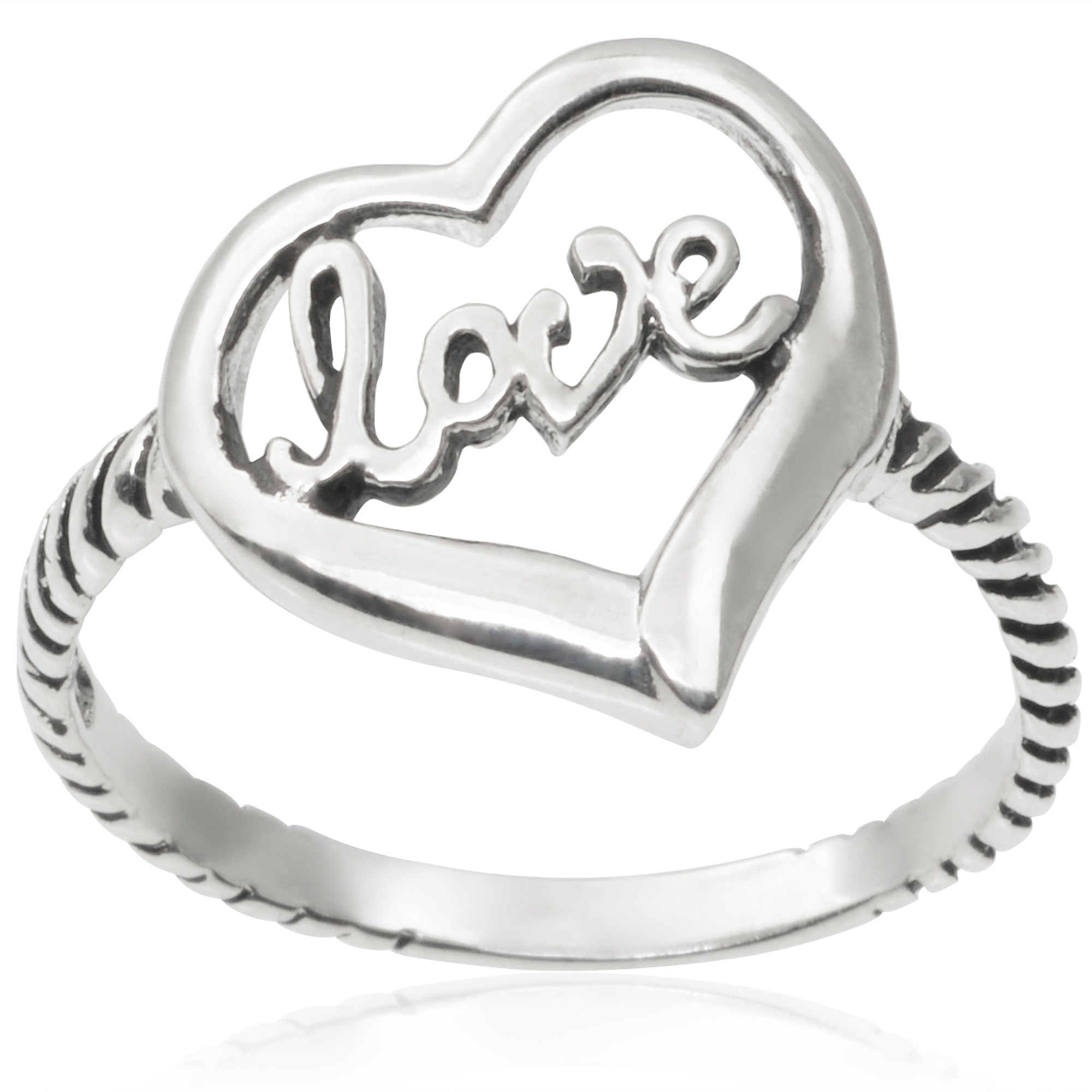 Brinley Co. Sterling Silver Love Ring