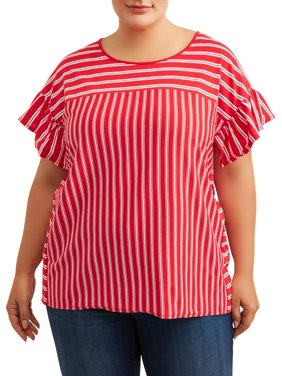 90b57683c7bd7 Product Image Women's Plus Size Striped V-Neck Ruffle Sleeve Tee