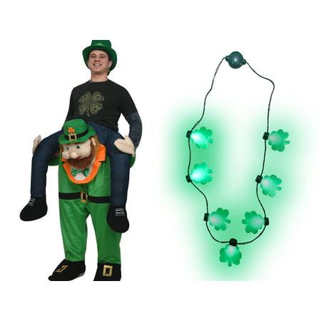 Adult St Patricks Day Carry Me Ride A Leprechaun Costume Shamrock Necklace - St Patrick Day Costumes