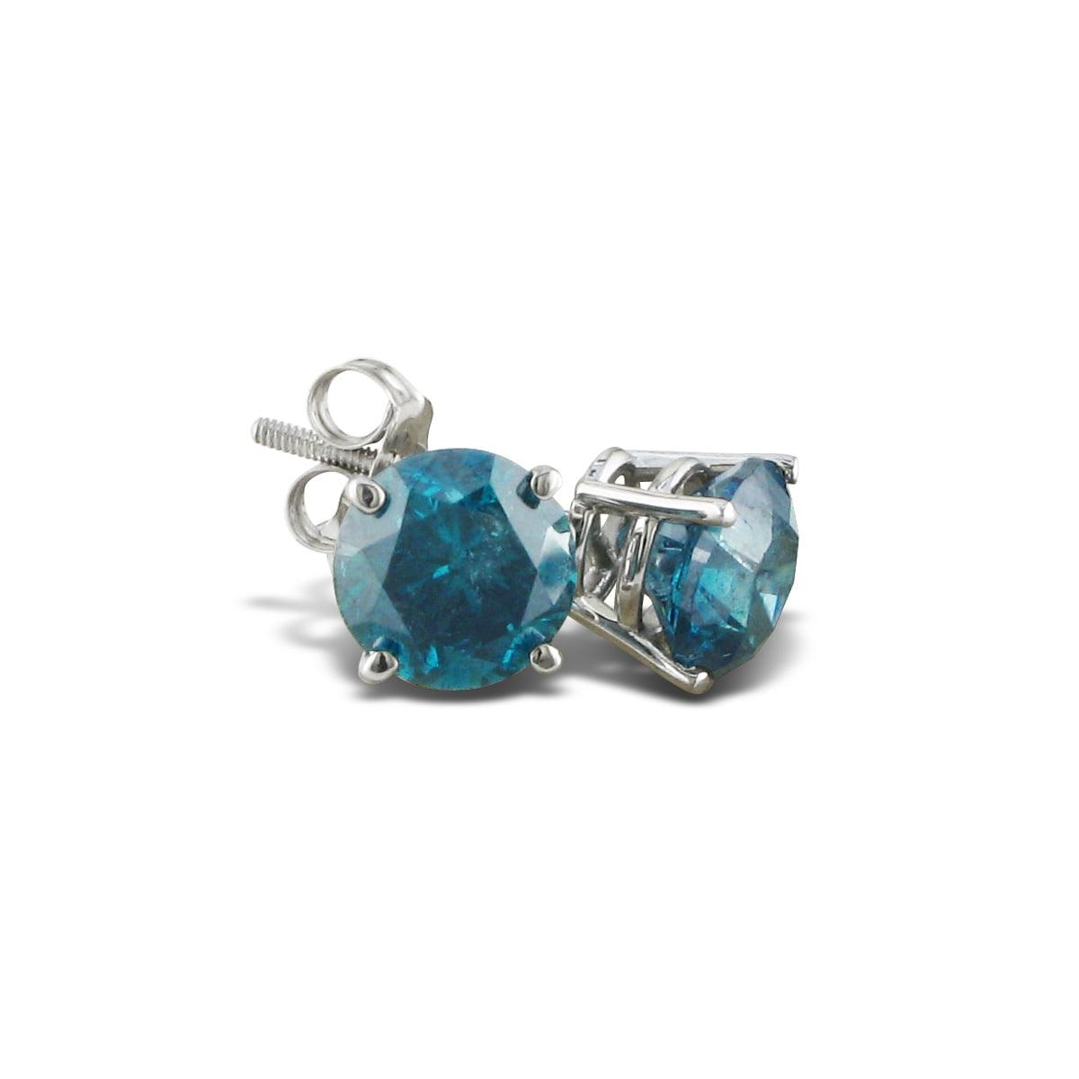 SuperJeweler 2ct Blue Diamond Stud Earrings in 14k White ...