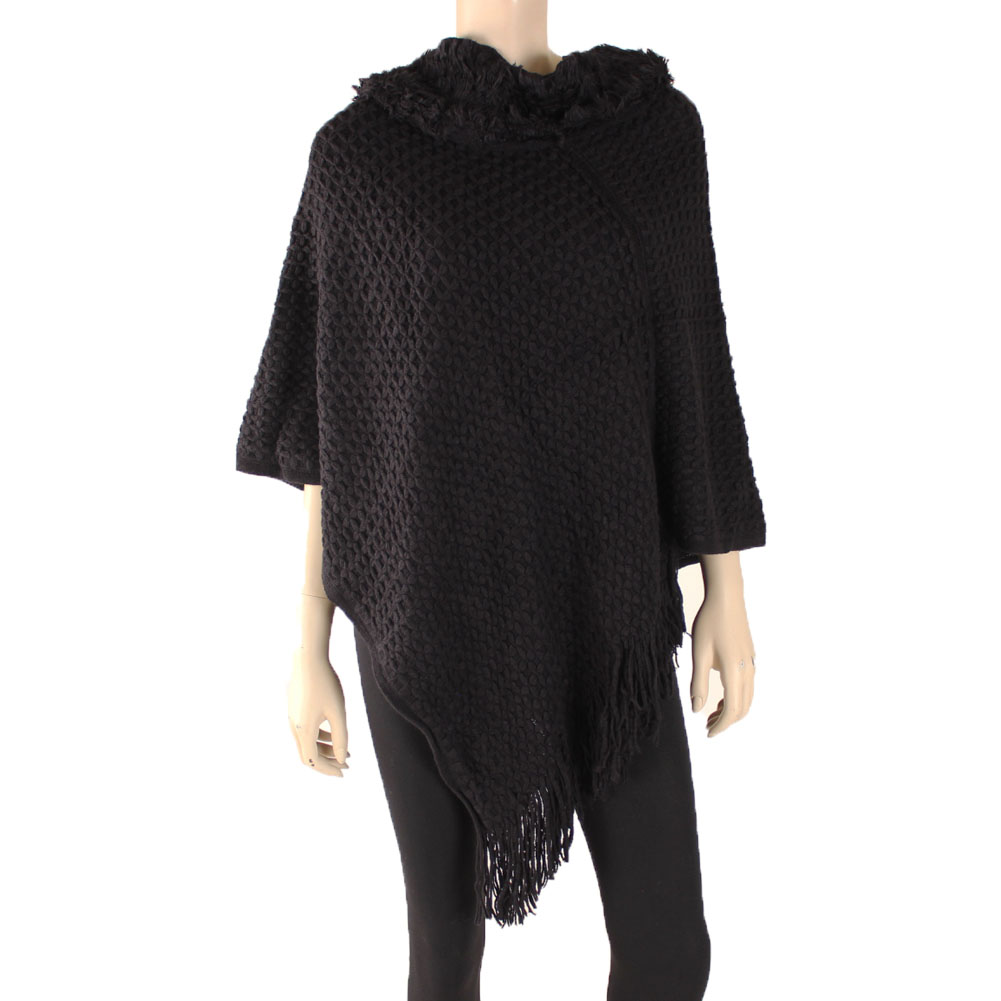 LAVRA Women's Hooded Poncho Shawl Knitted Cape by