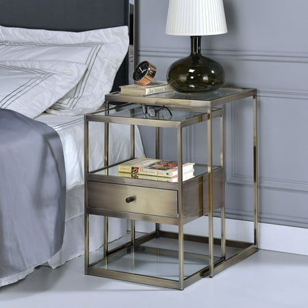 ACME Enca 2 Piece Pack Nesting Tables Set, Clear Glass & Antique Brass ()