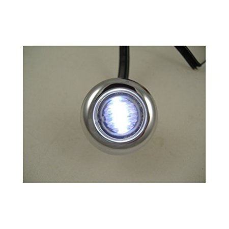 "Mini 3/4"" Round White 3 LED Clearance Marker Accent Light /Stainless Steel Bezel By United Pacific Ship from US"