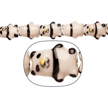 Porcelain Beads Bear Black /White 11.5x19mm 11pcs/String