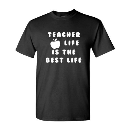 TEACHER LIFE is THE BEST LIFE - school - Mens Cotton T-Shirt (Small,Black) ()