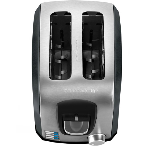 Black & Decker 2-Slice Extra Wide Slot Toaster, Stainless Steel and Black