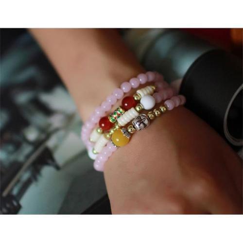 Merit 15994 Pink Chalcedony Enamel Bracelet by Merits