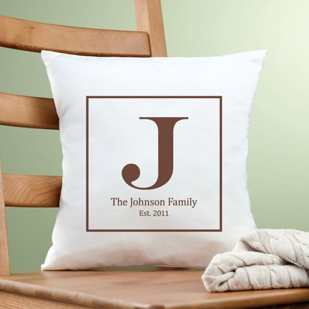Personalized Family Initial Pillow, Brown