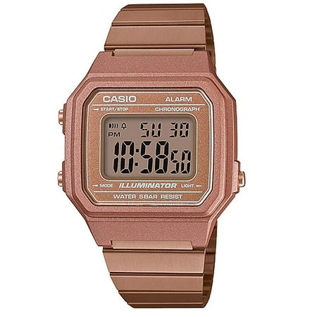 B650WC-5ADF Retro Digital Square Watch - Rose Gold