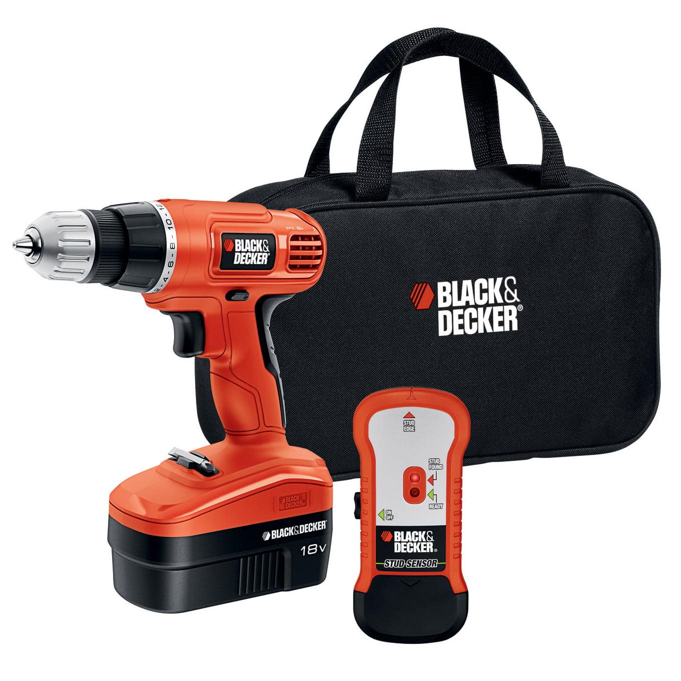 BLACK+DECKER™ GCO18SFB 18V NiCAD Cordless Drill + Stud Finder & Bag