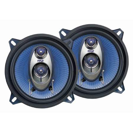 "PYLE PL53BL - 5.25"" Car Sound Speaker (Pair) - Upgraded Blue Poly Injection Cone 3-Way 200 Watt Peak w/Non-fatiguing Butyl Rubber Surround 100-20Khz Frequency Response 4 Ohm & 1"