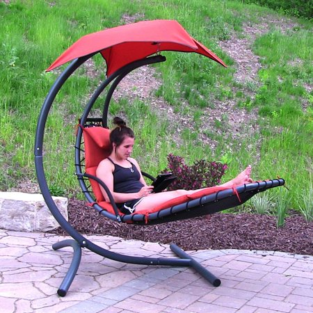 sunnydaze floating chaise lounger swing chair with canopy. Black Bedroom Furniture Sets. Home Design Ideas