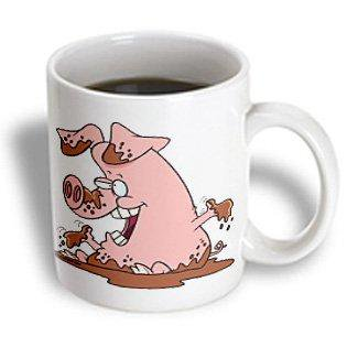 3dRose Cute Happy Pink Pig in Mud, Ceramic Mug, 11-ounce