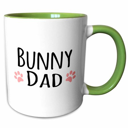 3dRose Bunny Dad - for rabbit lovers and pet owners - with pink paw prints - Two Tone Green Mug, 11-ounce