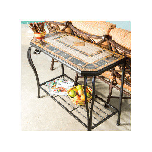 Alfresco Home Compass Mosaic Console Table