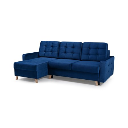 vegas futon sectional sofa bed queen sleeper with storage navy blue. Black Bedroom Furniture Sets. Home Design Ideas