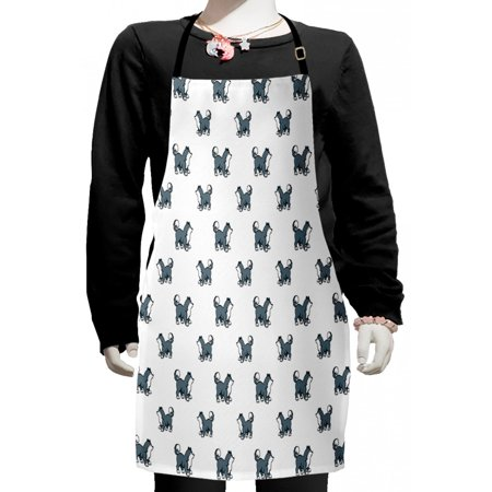 Dog Kids Apron, Husky Puppy Siberian Energetic Pet Alaskan Origin Sketch Style Cartoon Cold, Boys Girls Apron Bib with Adjustable Ties for Cooking Baking Painting, Blue Grey Black White, by
