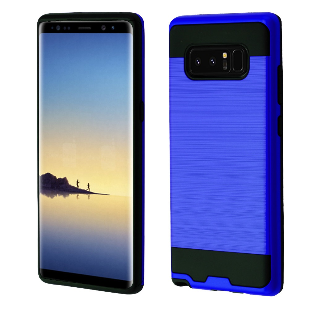 Kaleidio Case For Samsung Galaxy Note 8 [Brushed Metal Texture] Slim Fit Hybrid Armor [Shockproof] Protective TPU Lightweight 2-Piece Cover w/ Overbrawn Prying Tool [Dark Blue/Black]