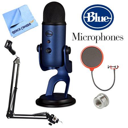 BLUE MICROPHONES Yeti USB Microphone Four Pattern Midnight Blue (Yeti Midnight Blue) + Suspension Boom Scissor Arm Stand + Microphone Wind Screen + Mic Stand Adapter + MicroFiber Cloth ()