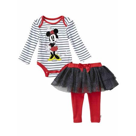 84577e35e Disney - Disney Infant Girls Minnie Mouse Baby Outfit Stripe Shirt Red & Black  Tutu Pants - Walmart.com