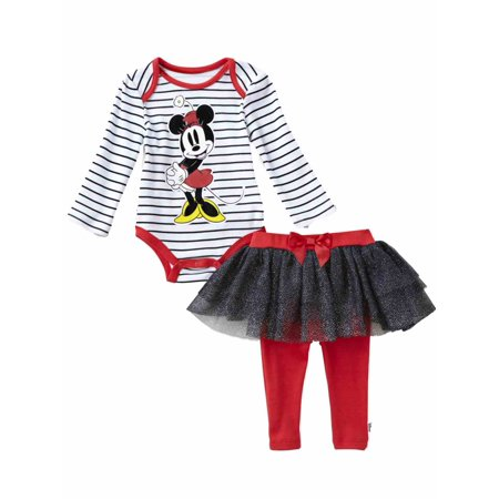 Disney Infant Girls Minnie Mouse Baby Outfit Stripe Shirt Red & Black Tutu Pants (Red And Black Minnie Mouse Tutu)