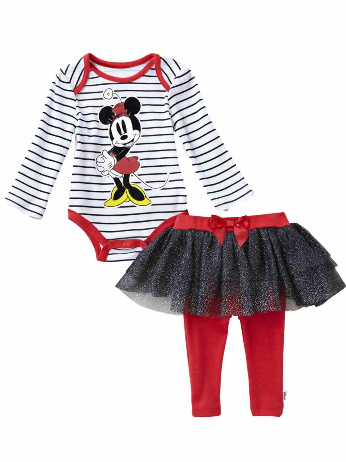 Disney Infant Girls Minnie Mouse Baby Outfit Stripe Shirt Red & Black Tutu Pants