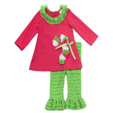 Rare Editions - Rare Editions Christmas Outfit - Fuchsia and Lime Candy Cane Legging Set 6 months - Walmart.com