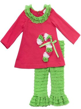 d1c13381c2dab Product Image Rare Editions Christmas Outfit - Fuchsia and Lime Candy Cane  Legging Set 6 months