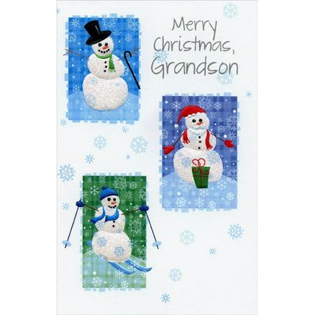 Freedom Greetings Three Embossed Snowmen: Grandson Christmas -