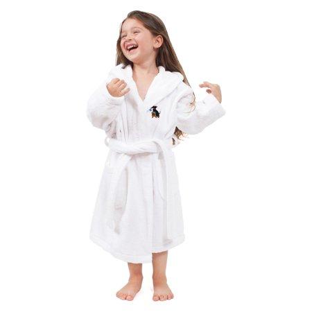 Monogrammed Linum Kids 100% Turkish Cotton Hooded Unisex Terry Bathrobe - Christmas Dog ()
