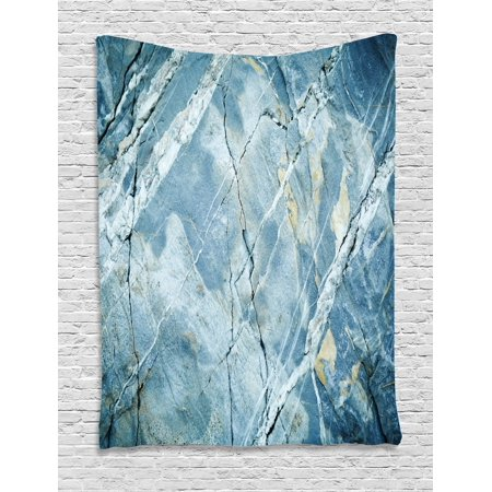 Marble Tapestry, Exquisite Granite Stone Architecture Floor Artistic Nature Faded Rock Picture, Wall Hanging for Bedroom Living Room Dorm Decor, Pale Blue Grey, by Ambesonne (Rock Tapestry Wall Hanging)