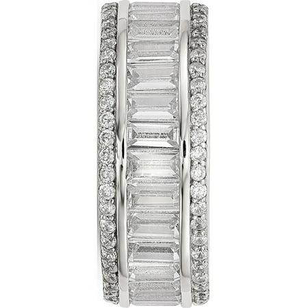 Sterling Silver Baguette & Round CZ Eternity Ring - image 2 de 3
