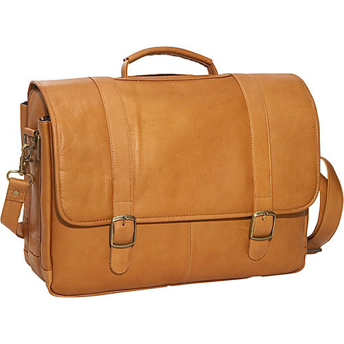 Porthole Leather Laptop Briefcase w Adjustable Strap (Tan)