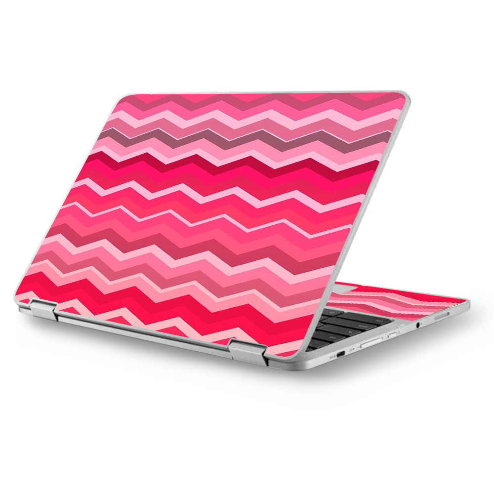 "Skins Decals for Asus Chromebook 12.5"" Flip C302CA Laptop Vinyl Wrap / Red Pink Chevron"