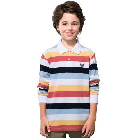 7c1c55f41 LEO LILY - Leo Lily Boys Long Sleeves Striped Cardigan Rugby Pique Polo  Shirt (MultiColored Stripes